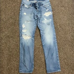 Abercrombie & Fitch distressed skinny jeans.